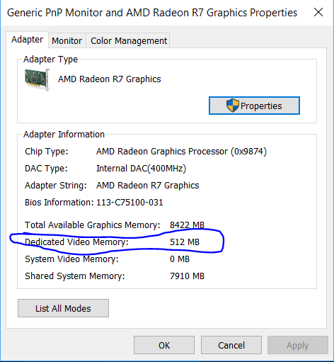 how to increase a dedicated video ram