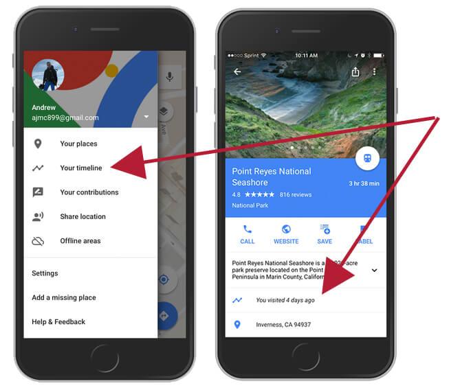 turn on or off google maps timeline