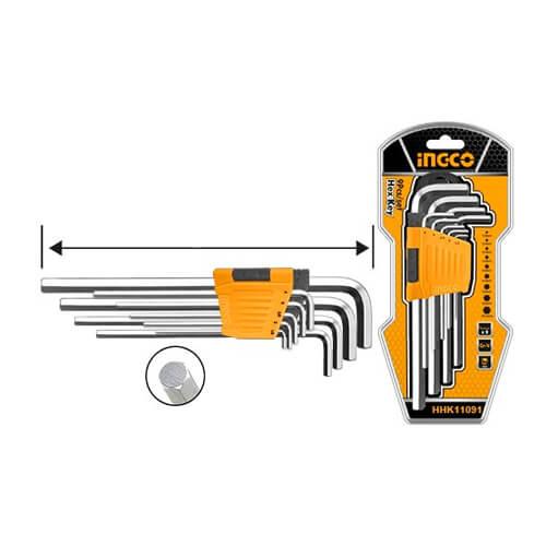 Clé hexagonale 1.5-10mm Ingco HHK11091 - Clé à laine jeu de 9 pièces