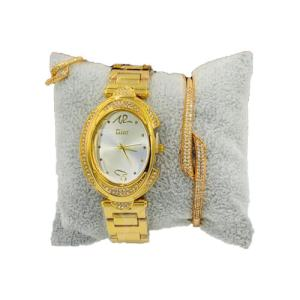 Ensemble montre, bracelet et bague en plaqué