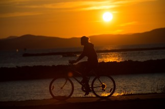 Biking along Lake Champlain.