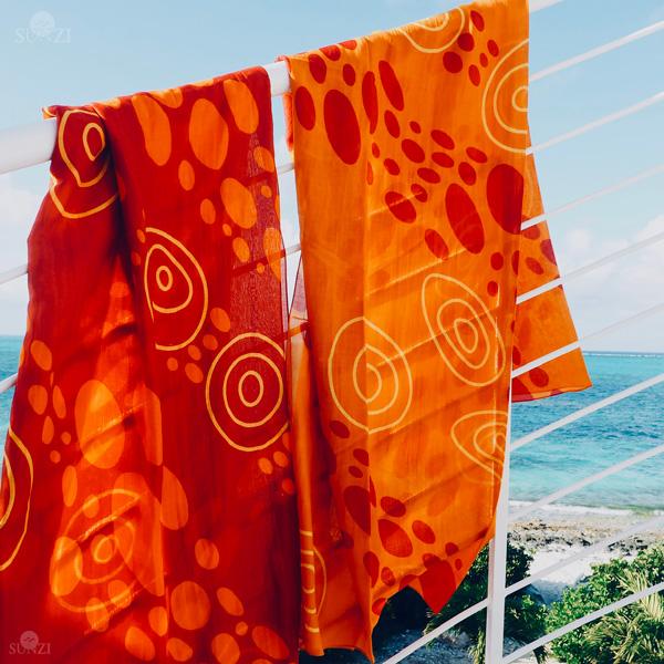 Sunzi Star Dreaming Orange & Red Sarongs