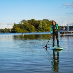 SUP Blogger on her Hardboard paddling on River Havel in Berlin