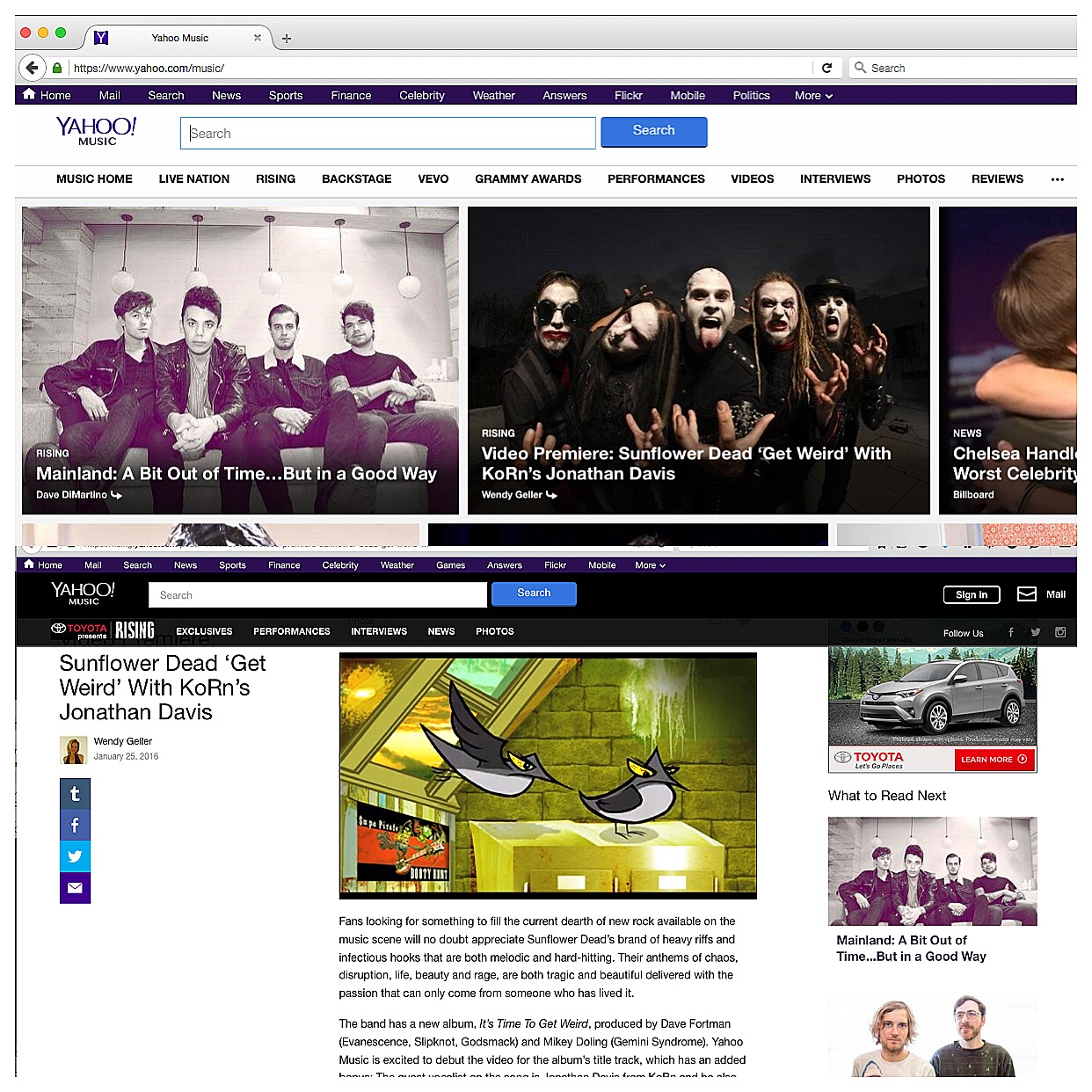 Yahoo Music features SPBH
