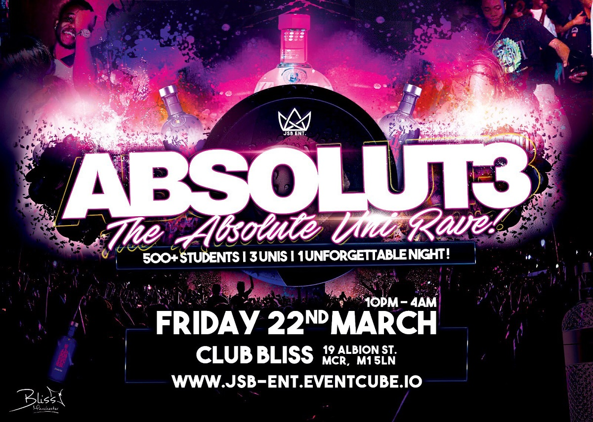 "Tonight All Roads Lead To ""THE MOST ANTICIPATED EVENT IN MANCHESTER🎈💥🎊 #ABSOLUT3"