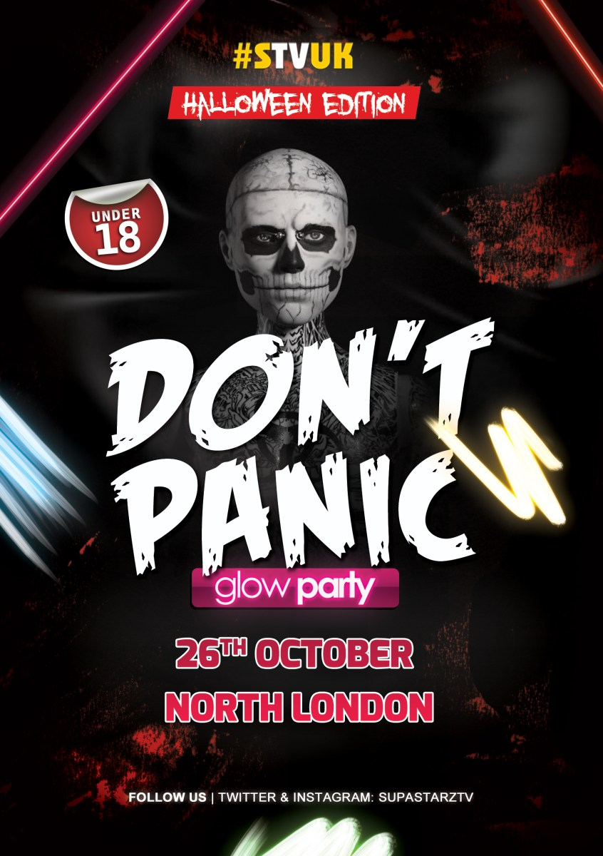 """DONT PANIC"" The Under 18s Halloween Glow Party - October 26th with IQ"