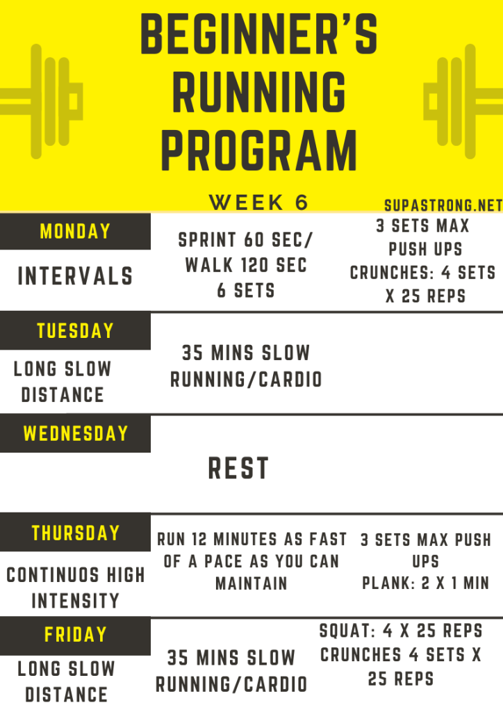 beginner's running program week 6