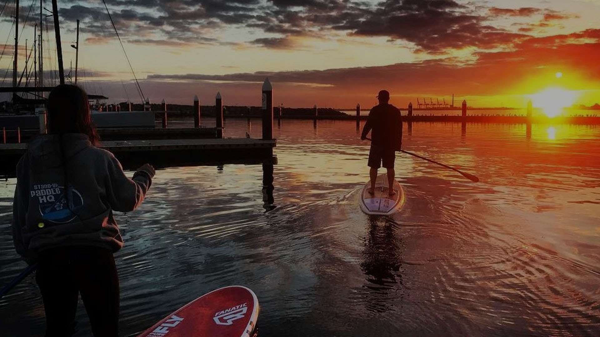 Paddle boarding session looking at the sunset