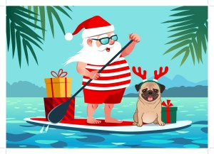 santa on a paddle board with gift voucher on the back of the board and a dog at the front