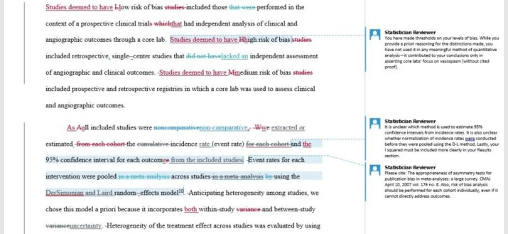 Statistician Reviewer for Superior Medical Editing notes on manuscript being edited for journal