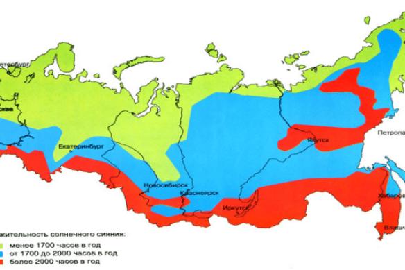 Количество солнечных дней в году, карта суммарной солнечной радиации.