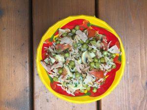 Petits pois au riz, tomates, champignons et jambon de Super Boîte à Lunch