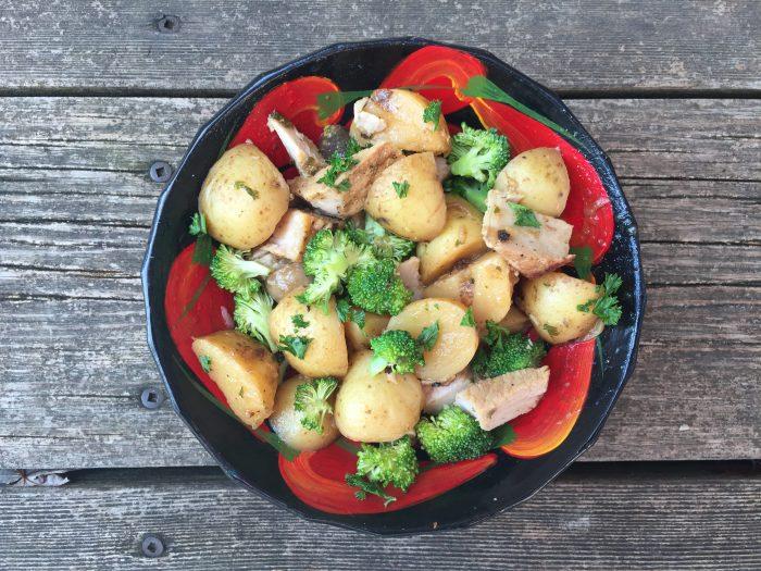 Filet de porc aux pommes de terre grelots, champignons et brocolis