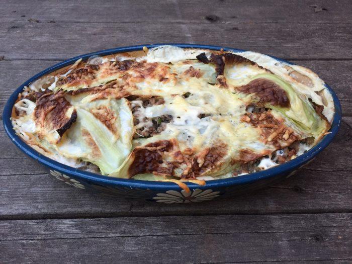 Les lasagnes au chou vert & champignons