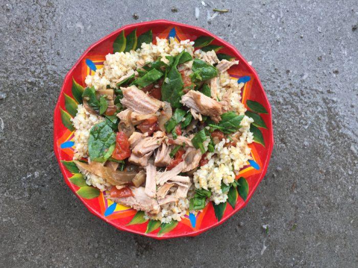 Lunchbox du jour : Boulgour de porc effiloché aux tomates italiennes et épinards