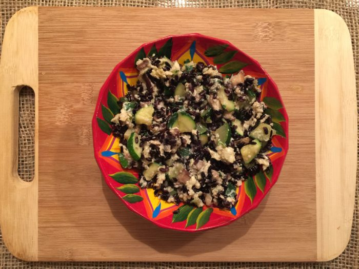 Courgettes aux oeufs, shiitake, riz noir & parmesan