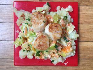 Pétoncles aux poireaux et carottes de super boîte à lunch