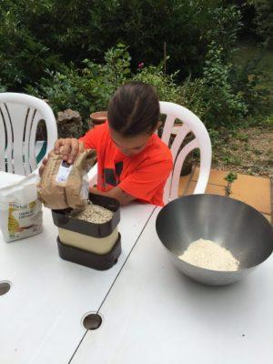 Louison apprend les quantités pour Super Boîte à Lunch