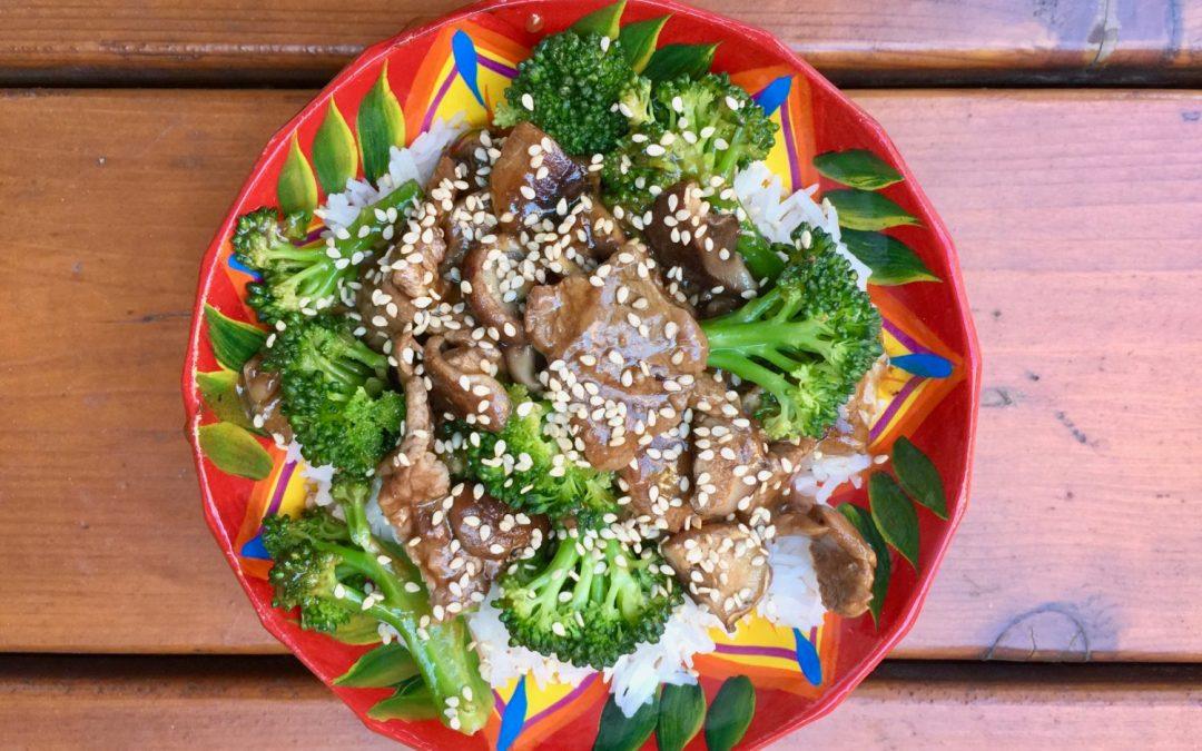 Brocolis au boeuf & shiitake, sauce asiatique !