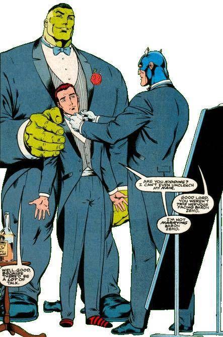 Hulk y Capitán América en la boda de Rick Jones
