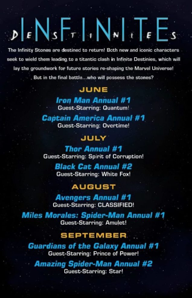 Calendario de publicación Infinite Destinies