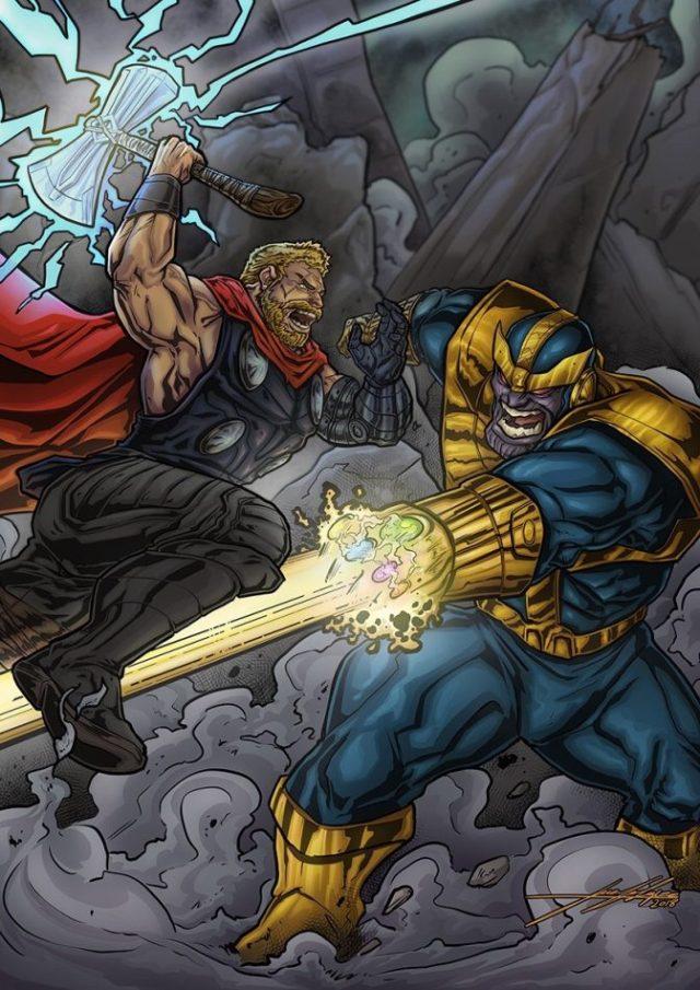 Thor y Thanos portada Juanjo López