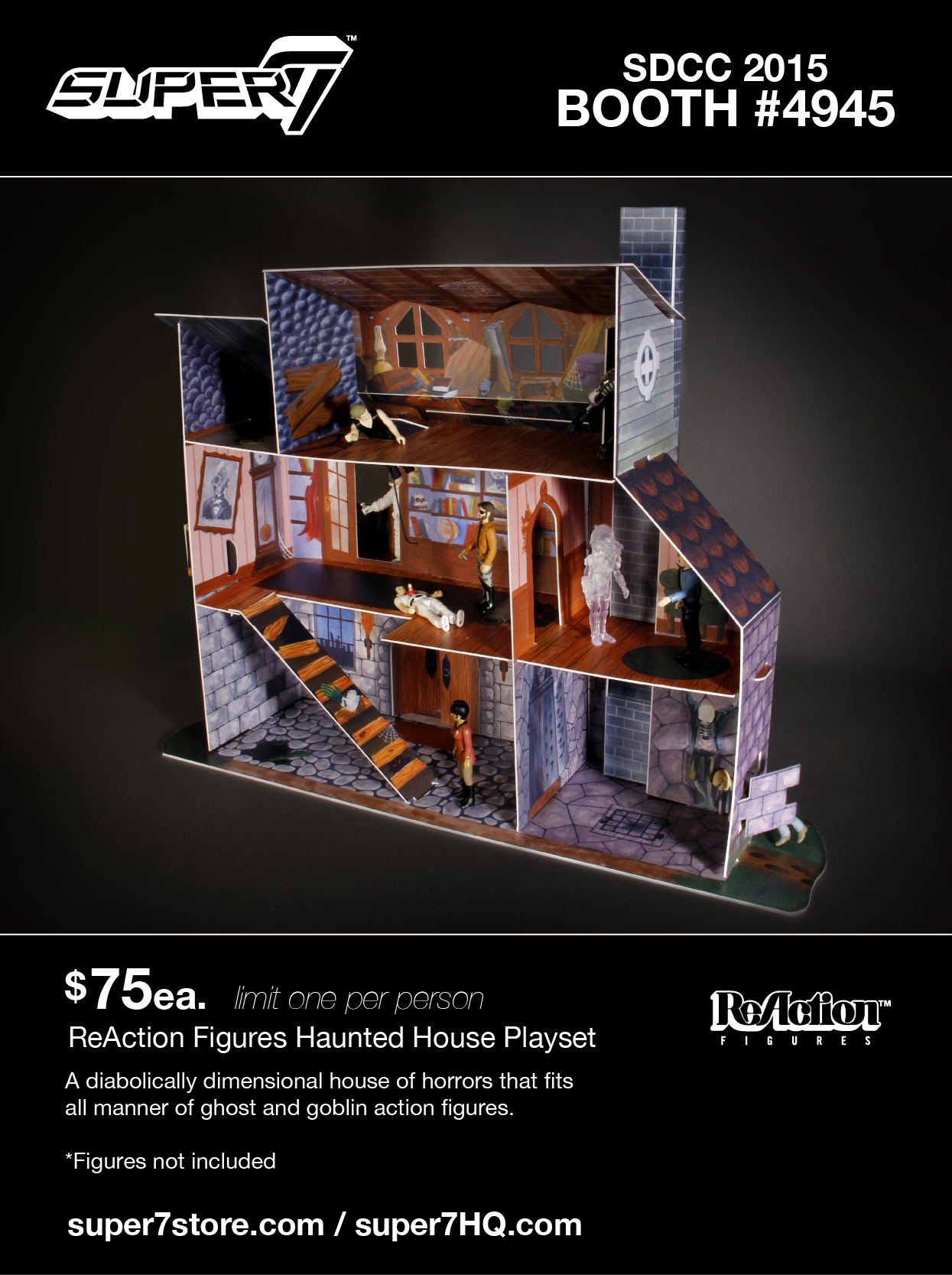 SDCC Exclusive ReAction Figures Haunted House Playset