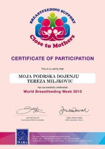wbw2013 sertifikat o ucescu u obelezavanju svetske nedelje dojenja