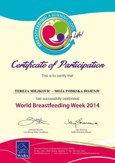 sertifikat svetska nedelja dojenja 2014