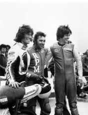 Keith, Reg Pridmore and Pierre DesRoaches after winning the 1977 AFM Six Hour race at Ontario Motorspeedway.