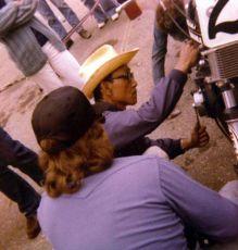 'Pops' Yoshimura tunes Keith's Kawasaki at Laguna National in 1976.