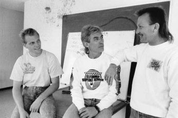 Scott Russell, Keith and Larry Rossler (Off road ace Kawasaki rider) swap lies at Willow Springs, 1991.