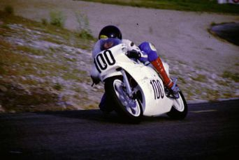Keith trying out a 250 GP bike in 1986.