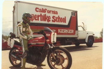 Eddie Lawson as guest instructor for the school, 1982.