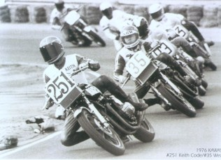 Classic Superbike racing, 1976. Keith leads Wes Cooley, Steve Mclaughlin, Reg Pridmore and Cook Nielsen through Riverside Raceway, turn 6.