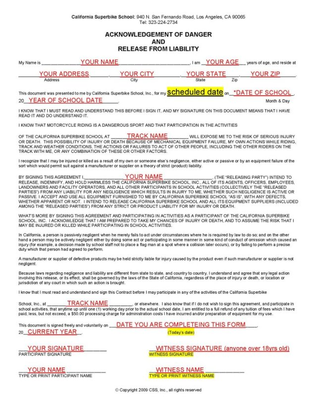 Sample Liability Waiver Form 10 Examples In Word PdfLiability – Release of Liability Form Sample