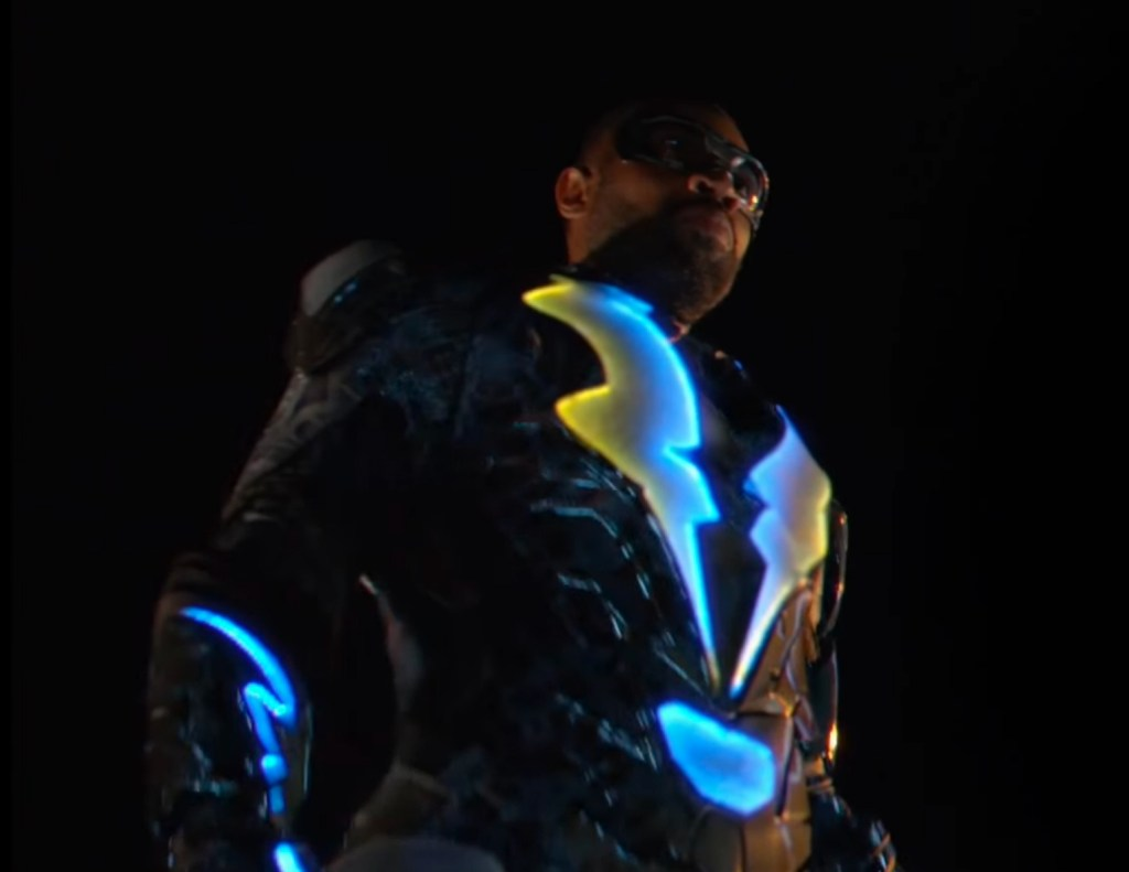 Black Lightning standing like a super hero