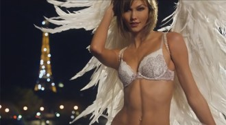 Victoria's Secret 2015 Super Bowl XLIX ad featuring Victoria's Secret Angels Candice Swanepoel, Lily Aldridge, Karlie Kloss, Behati Prinsloo, Alessandra Ambrosio and Adriana Lima.