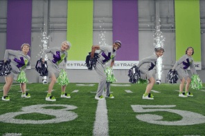 E*TRADE's Silver squad for #stillworkin Super Bowl LII (52) Advertising Campaign
