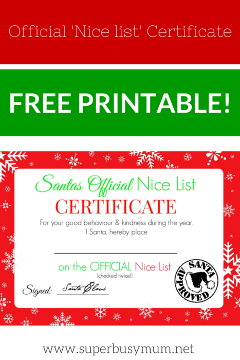 image about Santa List Printable named Xmas Great Record Certification - Totally free Printable! - Tremendous