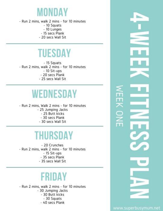 Week one - 4-week Fitness plan