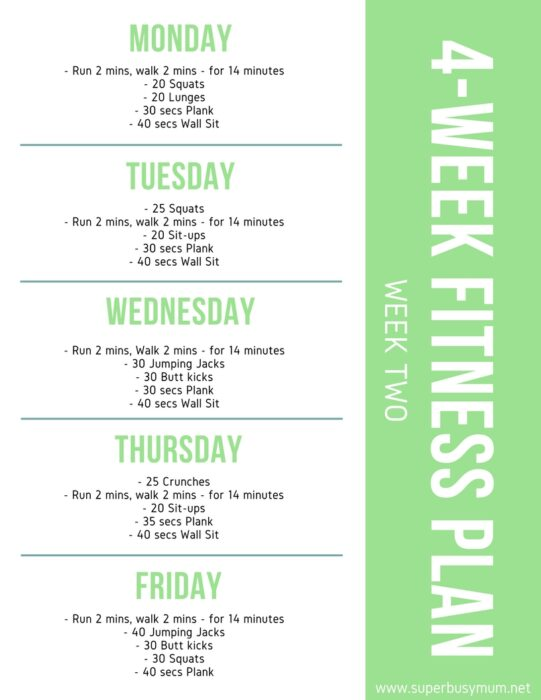 Week two - 4-week fitness plan