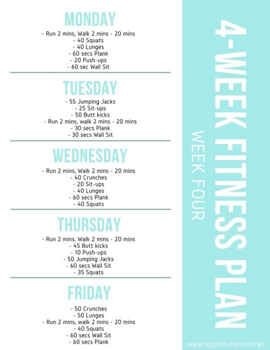 Week four of 4-week fitness plan