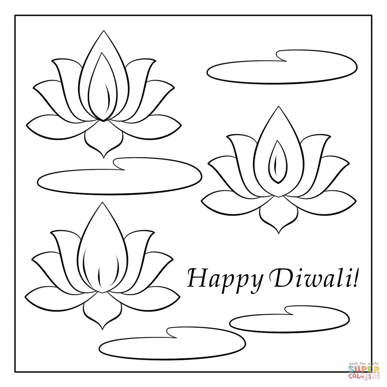 Happy Diwali Card Coloring Page