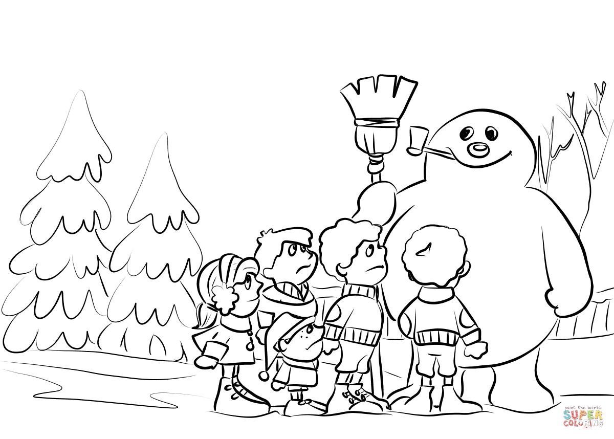 Children Build A Snowman Coloring Page