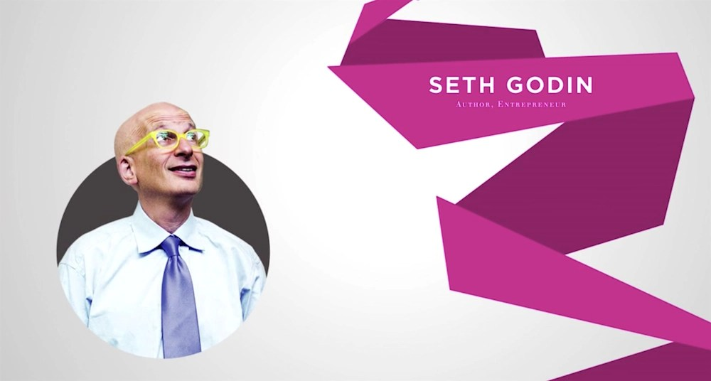"""Image of Seth Godin, with yellow glasses, staring up. To the right of that image is text that says, """"Seth Godin. Author, Entrepreneur."""""""