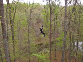 Ziplining with the boyfriend in Brown County (April)