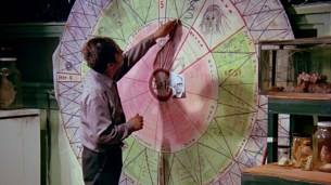 The next time you're planning world domination try doing your plotting in crayon and yarn on a big circular game show wheel in the middle of your living room.