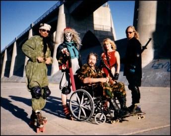 Sam Mann, Kabuki, (Claudia Scholtz), William Smith, Allison Chase, and Scott Shaw on the set of Roller Blade Seven