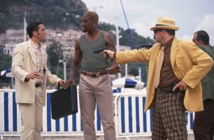 Don't worry, this sleeveless black man will easily defuse this fight between two white guys in tacky suit jackets. This is California in a nutshell people.